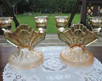 Pair of Vintage Jeannette IRIS Marigold Iridescent Double Candle Holders Herringbone