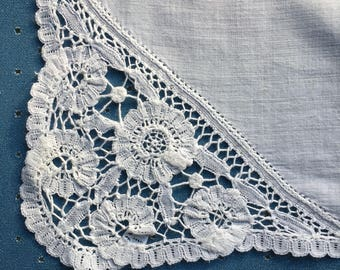 Antique Belgian Lace Wedding Handkerchief White Excellent Edged with Belgian lace For wedding women Accessory