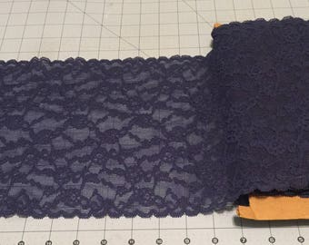 """Dark Blue-Navy Blue Floral Stretch Lace Trim * Sold by the Yard *  9"""" Wide * 4-way Stretch"""