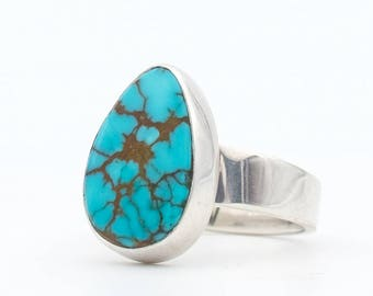 Turquoise Ring, Royston Turquoise, Nevada Turquoise, Sterling Silver Ring, Turquoise Jewelry, Modern Silver Ring, Southwestern Modernist