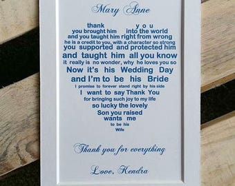 Mother Of The Groom Gift From Bride 7x5 Print In Law Wedding