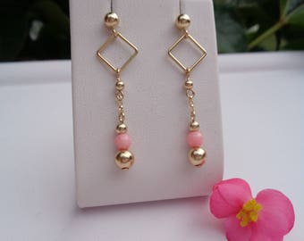 Gold Earrings, 585 gold filled with angelic face coral, delicate design