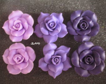Set of 6 violet, purple and aubergine 40 mm flower cabochons