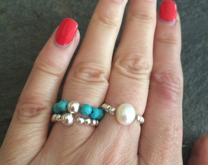 TURQUOISE Sterling Silver STRETCH ring blue gemstone bead ring stacking ring beaded ring December Birthstone jewelry healing jewellery gift