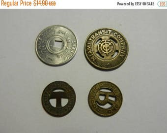 Summer Sale 4 Vintage Travel Transit Tokens