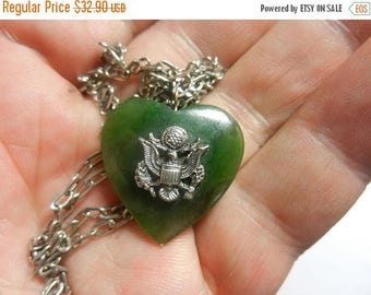 Summer Sale Vintage WW2 Jade Sweetheart Heart Pendant and Chain