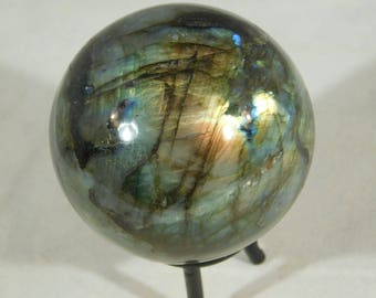 A Bright Blue and Gold Flash on this BIG Labradorite Sphere! With Stand 462gr