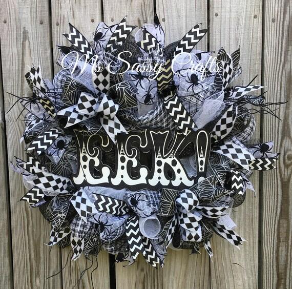 Halloween Wreath Spider Halloween Wreath Black And White