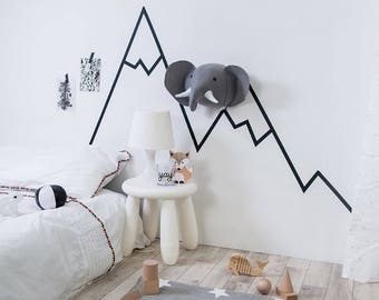 Zoo nursery, Scandinavian nursery, Felt elephant, elephant head, monochrome zoo,  nursery decor, faux elephant, elephant mount, animal mount