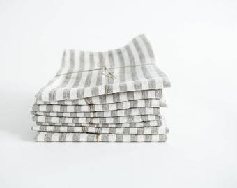 Pure linen tea towel baltic flax european stonewashed white and beige striped