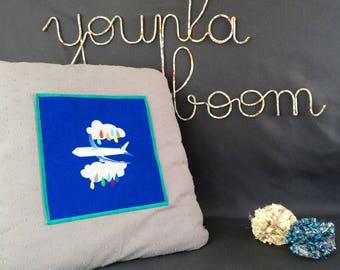 "Grey and blue cotton pillow ""Airmail"" - cotton - dots - 45 x 45 cm"