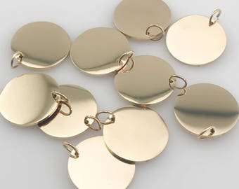 Package of 10, Highly Polished Gold Plated Stainless Steel Blanks, High Quality, USA, Gold Tags Plates, Gold Discs
