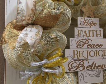 Gold and Silver Christmas Tree Wreath