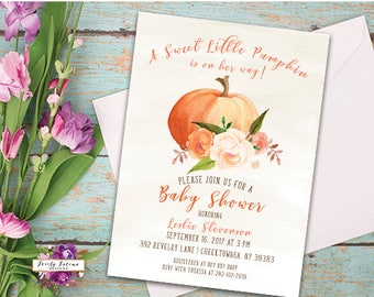 A Sweet Little Pumpkin is on Her Way -  Autumn Fall Baby Shower - Watercolor Floral Pumpkin - Printable Digital Invitation