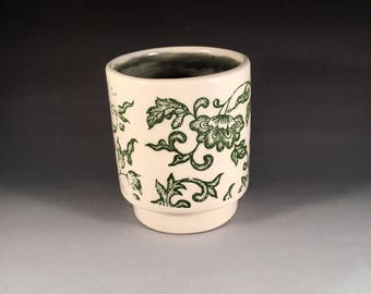 Small Green Floral Tumbler