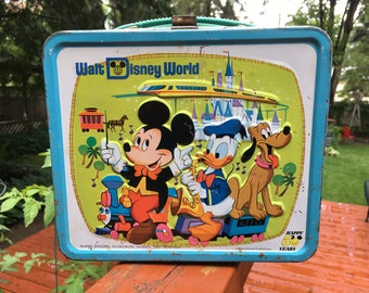 Vintage Walt Disney World Lunch Box Mickey Mouse Metal Lunchbox Lunch Pail