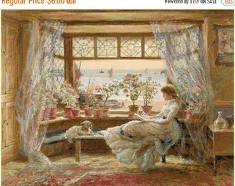 "ON SALE Counted Cross Stitch Pattern chart pdf file - Reading by window by Charles James Lewis -23.64"" x 18.50"" - L1330"