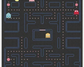 """ON SALE Counted Cross Stitch Pattern - Pacman level - 13.78"""" x 16.78"""" - L800"""