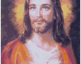 "ON SALE Counted Cross Stitch Pattern chart pdf file - Sacred heart of Jesus - 11.79"" x 16.50"" - L1398"