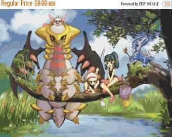 "Neighbor Totoro Pokemon style Counted Cross Stitch Pattern needlework needlepoint kreuzstitch - 23.62"" x 17.72"" - L919"