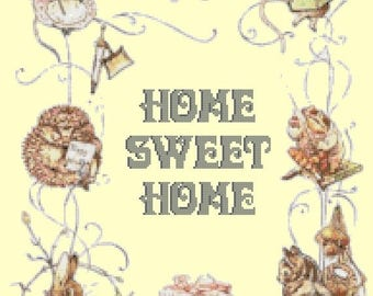 "Home sweet home 2 by potter counted Cross Stitch Pattern pdf דפוס תפר צלב needlework, Kräiz Stitch - 13.79"" x 18.00"" - L1155"