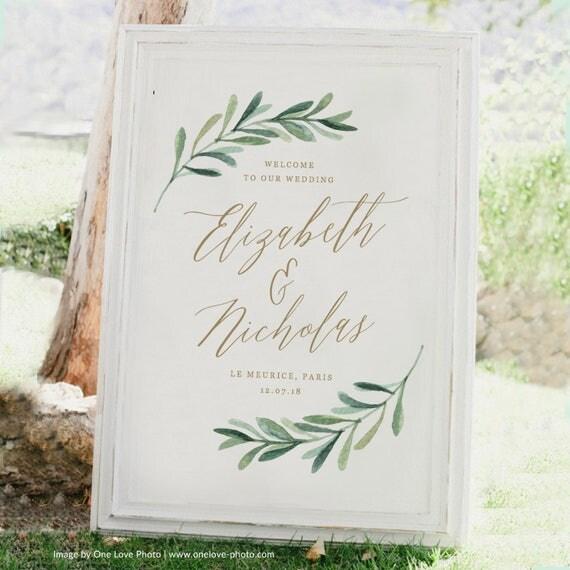 greenery wedding welcome sign template printable welcome
