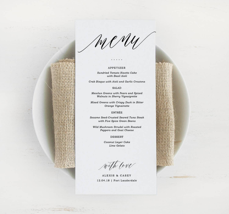 Printable Wedding Menu Template Printable Menu Script Wedding Menu