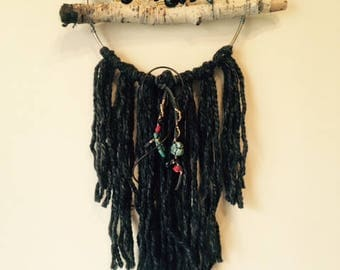 Stick Dream Catcher with Turquoise Beads and Black Fringe