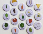 """Single 2.25"""" Magnet or Pin + funny food pun office decor refrigerator magnets backpack jacket buttons pins"""
