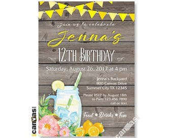 Lemonade Birthday Invitation, 7th 8th 9th 10th 11th, Pink Yellow, Rustic Wood Lemonade Stand, Printable or Printed with FREE SHIPPING 482