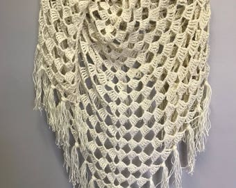 Hand crocheted fringed shawl/shoulder wrap/fringed boho scarf/fringed triangle shawl/wedding shawl