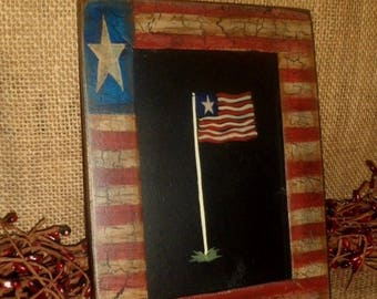 Americana Folk Art Painting Hand Painted American Flag Theme Primitive Country Home Decor