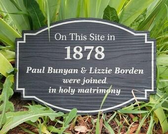 Historic Marker Lizzie Borden Paul Bunyan on this site Garden sign