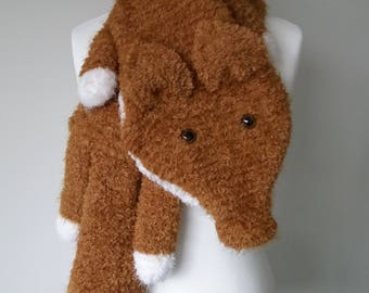 GetWoolly Fox scarf, stole, fluffy, fleecy, snuggly, soft, teddy bear brown and white, hand knitted, animal scarf