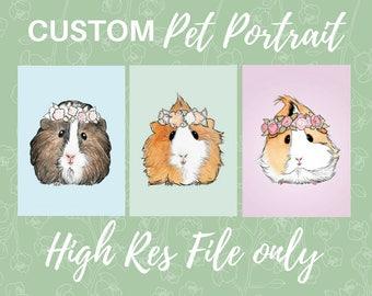 CUSTOM PET PORTRAIT - Digital Copy: Small Pet Art Bunny Rabbit Guinea Pig Hamster