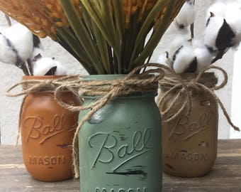 Set of 3 Fall mason jars Fall centerpieces Thanksgiving table decor Fall Mason jar centerpieces Fall mason jar decor