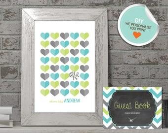 Monkey Baby Shower Guest Book, Monkey Guest Book, Teal, Gray, Lime Green, Chevron, Chalkboard   DIY