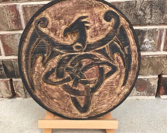 Celtic Dragon Knot Home Decor Sign Carved Raised Relief Dragon Celtic Knot Wood Dragon