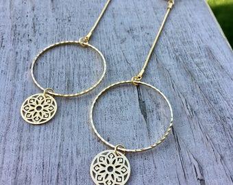 Gold dangle earrings, long earrings, circle shape earrings, goldfilled earrings, statement earrings, mandala earrings, earrings to shine