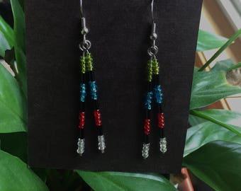 Glass Bead Dangling Earrings