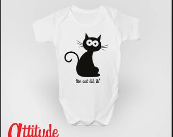 The cat did it! Funny Baby Grow Babygrow