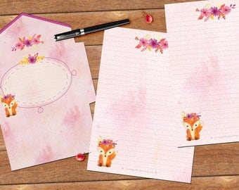 Cute fox - DOWNLOAD file - Printable Writing paper - A5 size - with envelope template