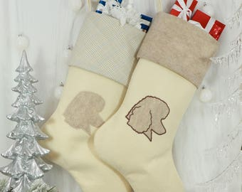 """Poodle Christmas Stocking, Dog Christmas Stocking.  Size: 8.5"""" Cuff, 12"""" Foot, 20'' Tall"""