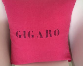 """100% washed linen fuschia """"Gigaro"""" pillow cover"""