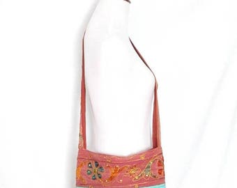 Vintage Boho Embroidered Crossbody Bag Sequined Hippie Purse Colorful Festival Shoulder Bag Bohemian Gypsy Across the Body Sling Bag