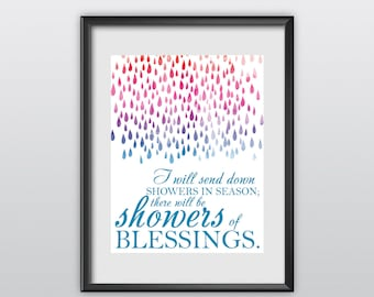 50% Off Ezekiel 34:26 Scripture Print Christian Poster Showers of Blessing Typography Bible Verse Wall Art (T23)