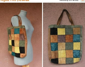 Summer Sale 1970's Patchwork Leather Bag - 70's Leather Tote Bag