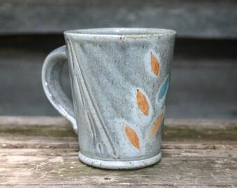 Gray Coffee Mug with Leaves
