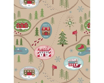 Christmas Fabric Santas Village North Pole Tan Lewis & Irene Cotton Fabric
