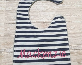 Baby Bib- Navy Blue and White Stripe Baby Bib, Personalized Baby Bib, Monogram Bib, Embroidered Baby Bib, Minky Baby Bib, Girl or Boy Bib